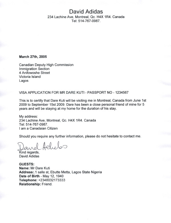 Sample Of Invitation Letter To Canada For Parents
