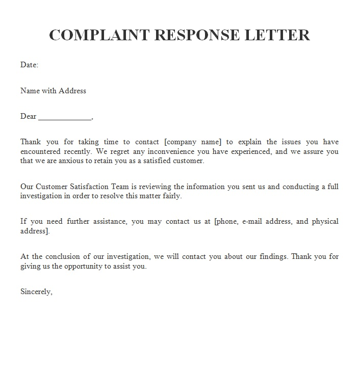 Sample Complaint Letter to Airline