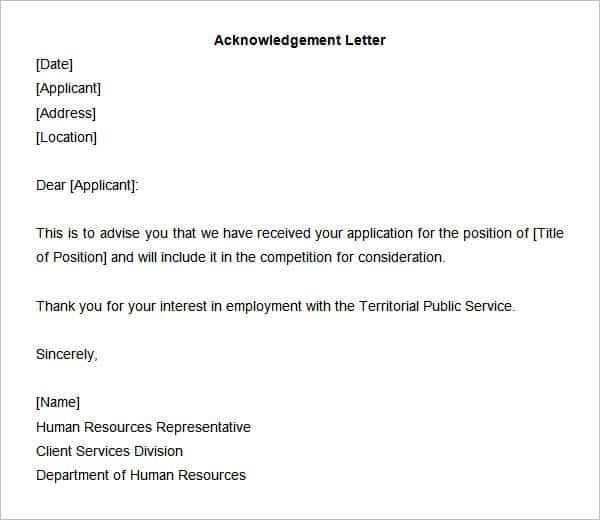 12 Sample Acknowledgement Letters