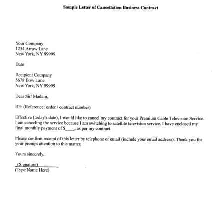 Cancellation Letter 10  Business Termination Letter Sample