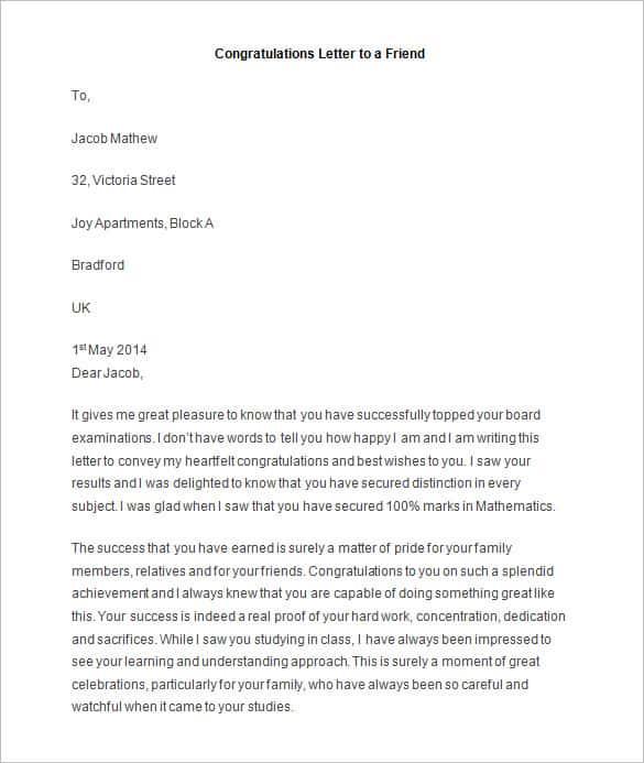 11 sample congratulation letters