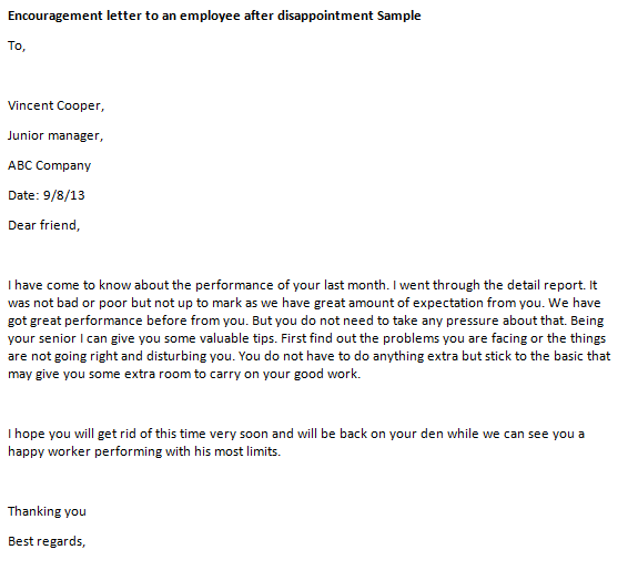 10+ Sample Encouragement Letters - Sample Letters Word