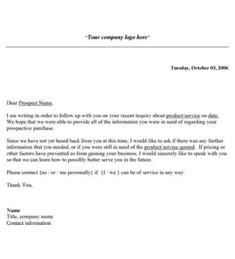 Follow-Up-Letter-70  Letter Template Word on independent contractor proposal template, assignment sheet template, contractor work order form template, sample resume cover page template,
