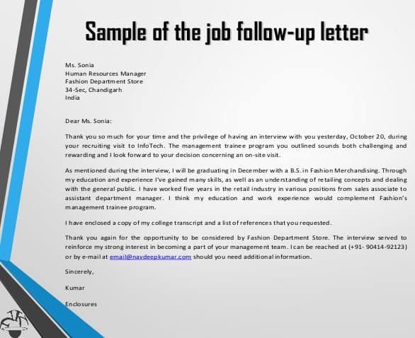 Sample Follow Up Letters  Sample Letters Word