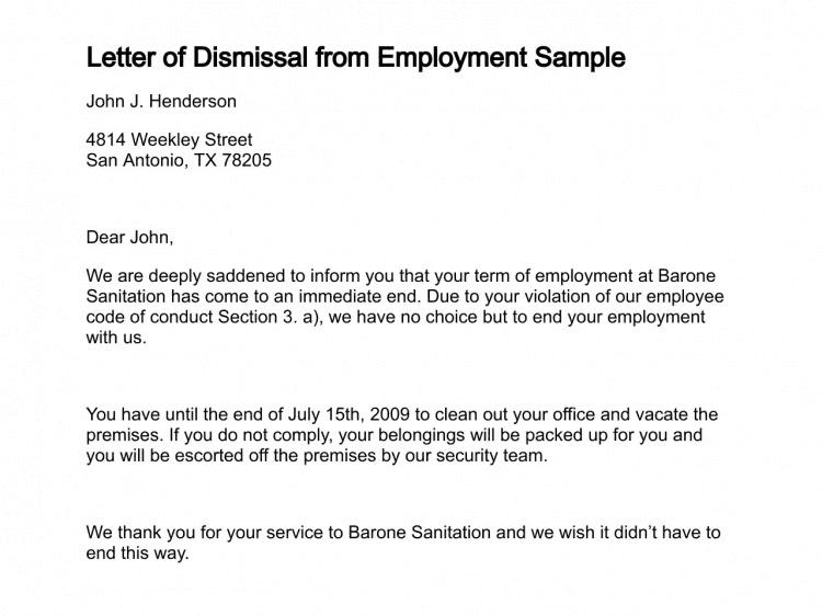 Letters Of Dismissal 101