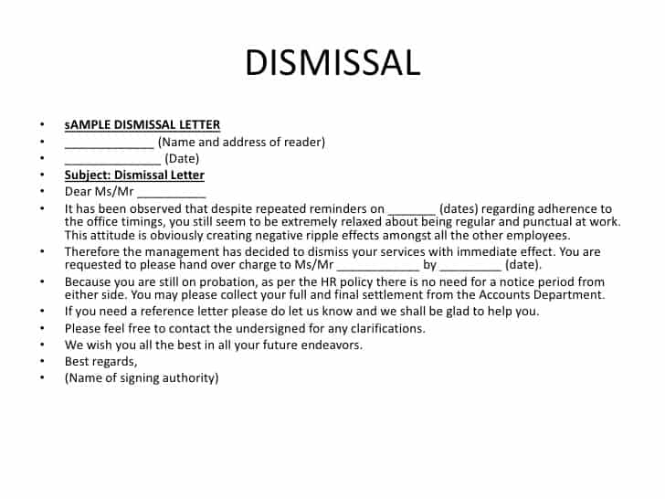 Delightful Sample Letters Word And Letter Of Dismissal Template