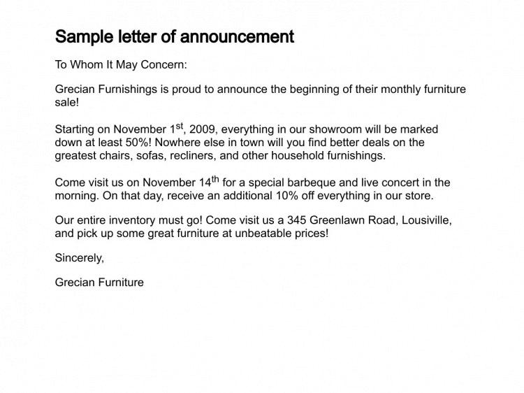 12 sample announcement letters