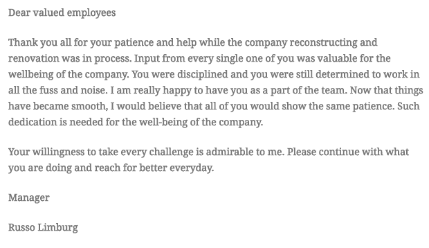 Appreciation Letter From Manager