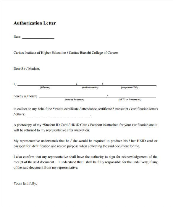 Authorisation Letter Authorization Letter Authorization
