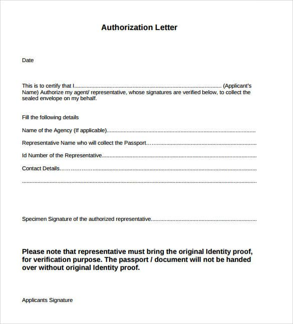 Amazing Authorization Letter For Collection