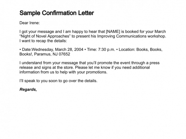10 sample confirmation letters sample letters word confirmation letter 40 altavistaventures Gallery