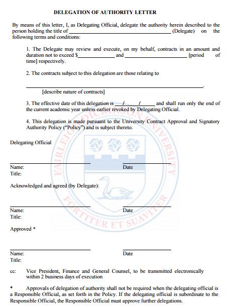 delegation letter 70