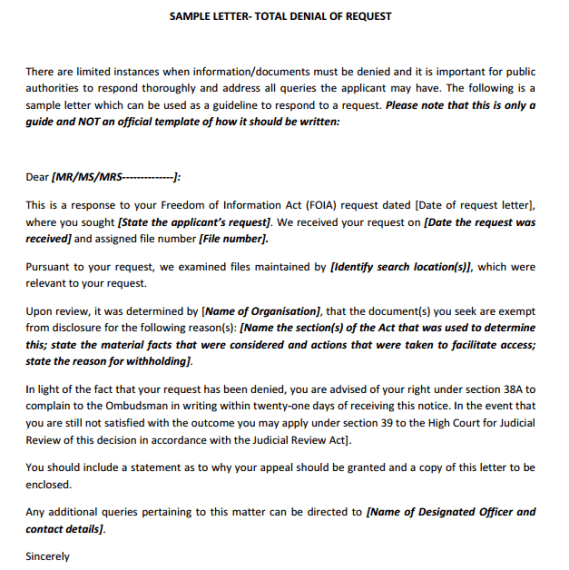 Response letter to a request besik eighty3 co con accommodation denial letter 101 spiritdancerdesigns Gallery