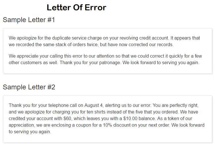 Error Letter 20  Letter Of Apology For Mistake