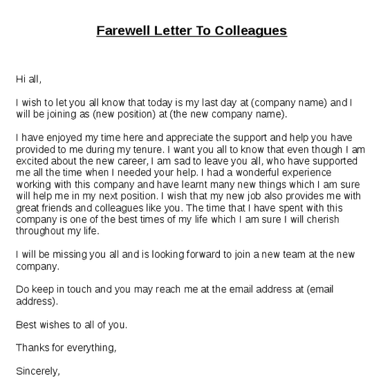12 Sample Farewell Letters Sample Letters Word