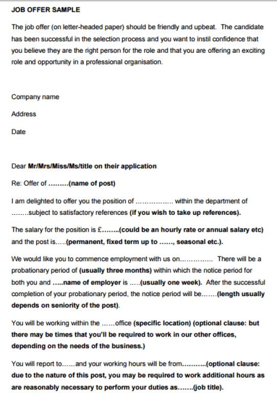 13 sample job offer letters sample letters word