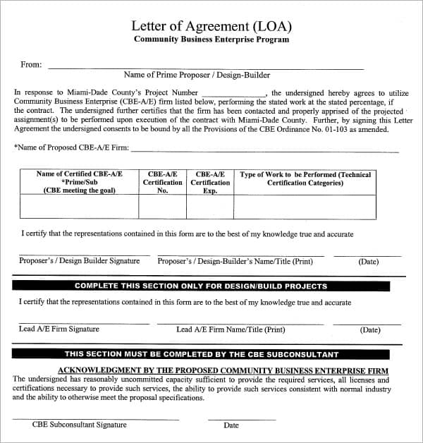 Sample Letters Of Agreement  Sample Letters Word