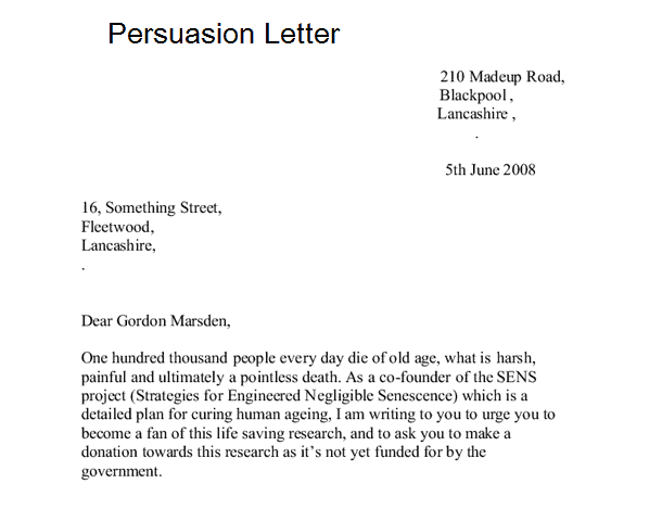 Letter Of Persuasion For A Job