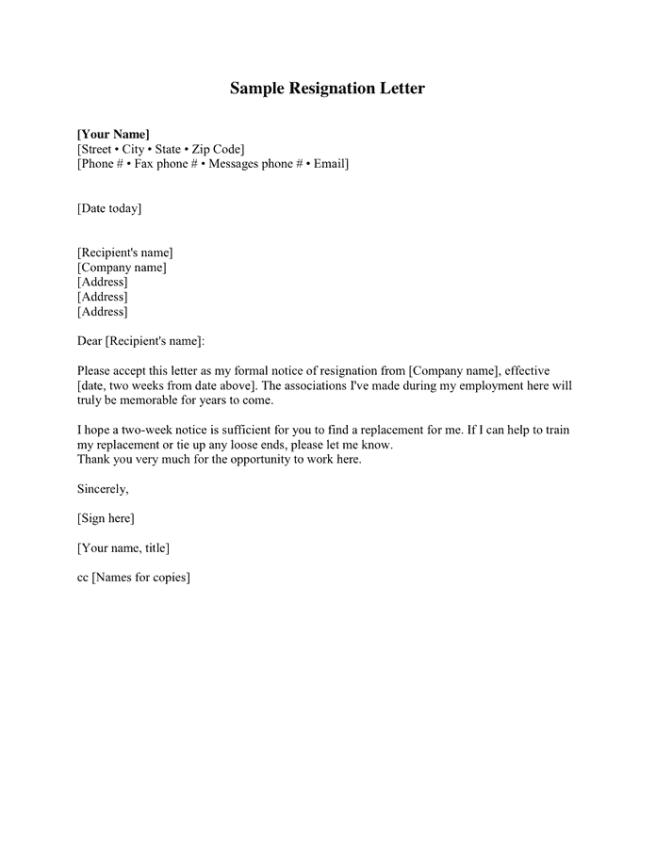 Resignation Letter 002