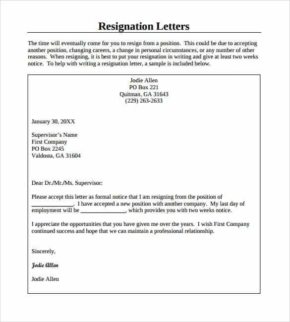 Resigning Letter. Resignation Letter No Notice In Pdf Sample ...