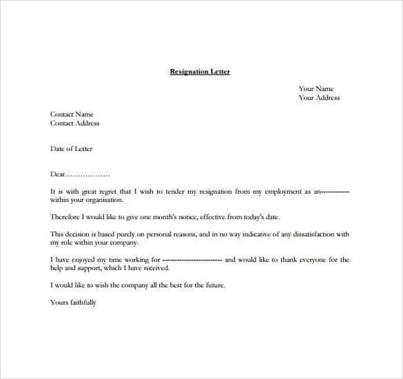 9 Resignation Letter Sample Sample Letters Word – Www.sample Resignation Letter