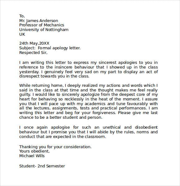 Apology Letter Samples  Sample Letters Word