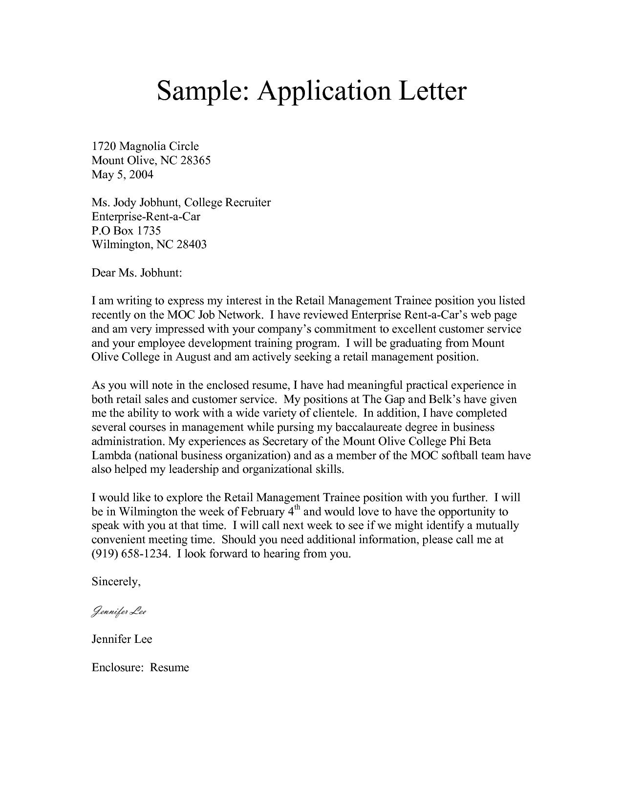 Letter Of Application Sample