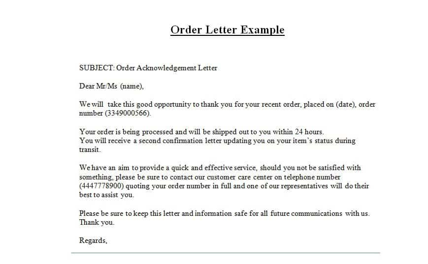 order letter examples