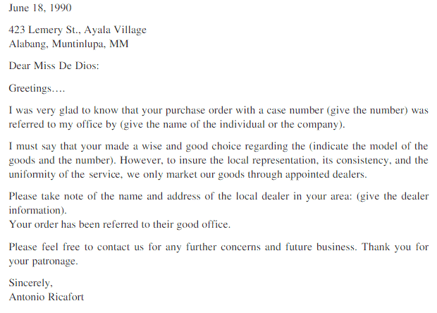 purchase order letter sample