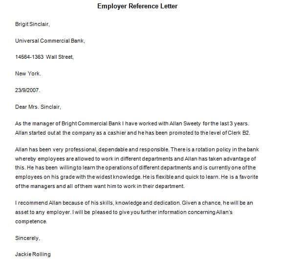 Referemce Letter Sample 004  Free Recommendation Letter Sample