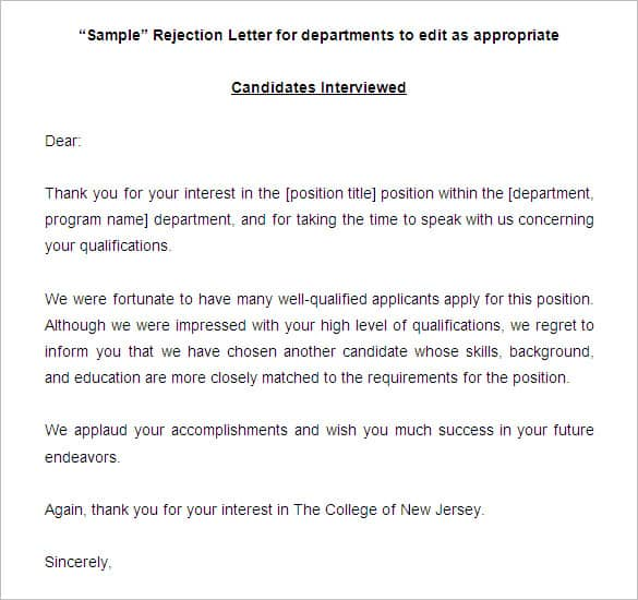 Refusal Letter. Sample Job Rejection Letter In Pdf 9+ Job