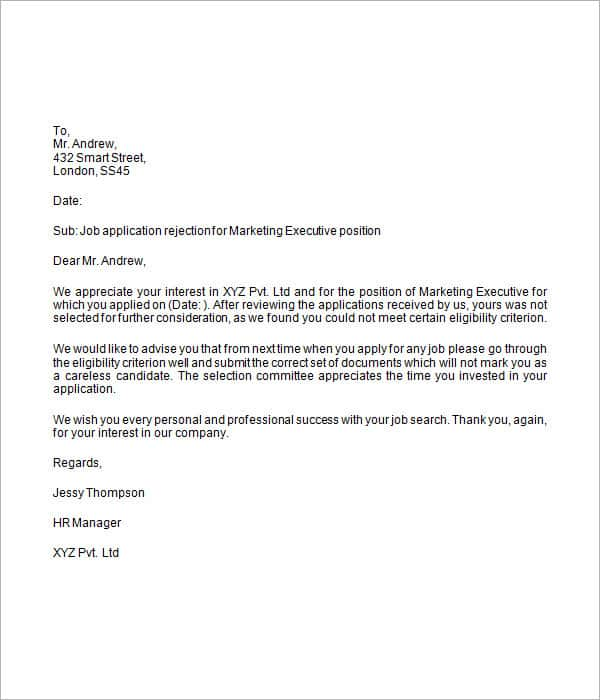 Rejection Letter Samples  Sample Letters Word