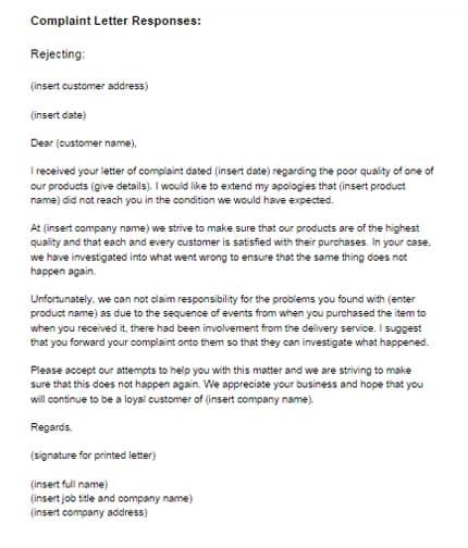 Response Letter Sample 001  Complaint Letter Model
