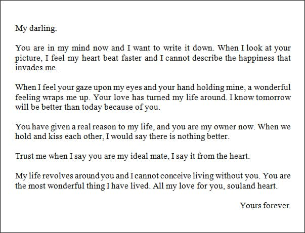 7+ Sample Romantic Letters - Sample Letters Word