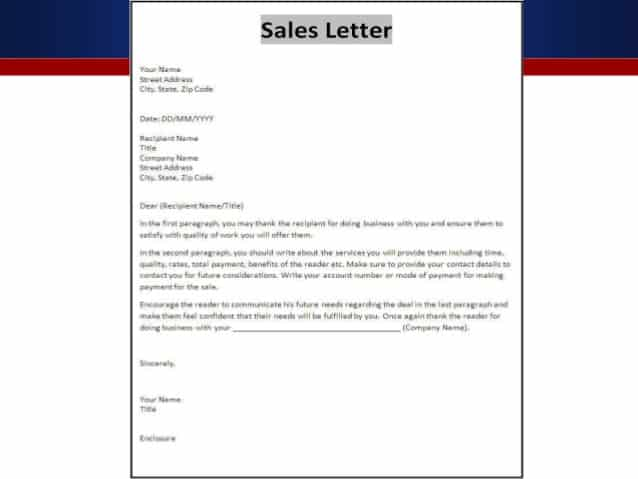 Sample Sales Letter 003  Format Of Sales Letter