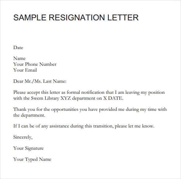 9 Resignation Letter Sample Writing