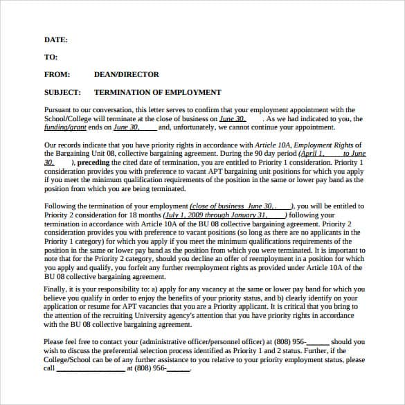 Termination Employee Letter Related For  Employee Termination