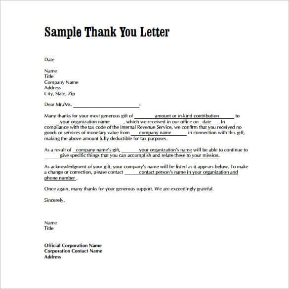 Thank You Letter Example Free Thank You Letter Business Gift