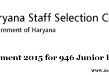 HSSC Recruitment 2015 for 946 Junior Engineer Posts