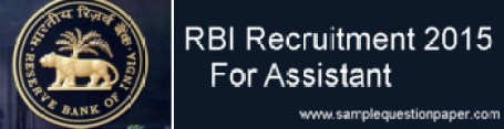 RBI Recruitment 2015 for Assistant - www.rbi.org.in