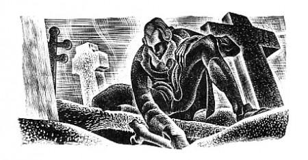 Victor Frankenstein robbing a grave.