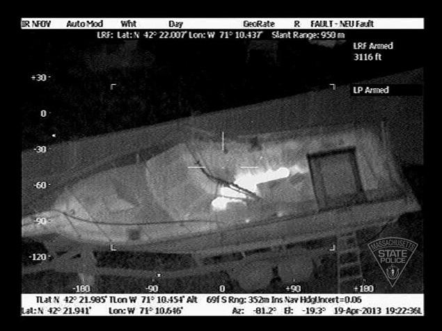 Cops used a forward-looking infrared device (FLIR) to find traces of Tsarnaev's heat signature.
