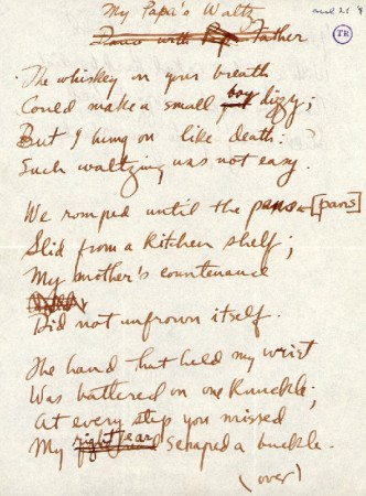 "Draft manuscript of Roethke's ""My Papa's Waltz,"" showing that ""small boy"" was originally ""small girl."""