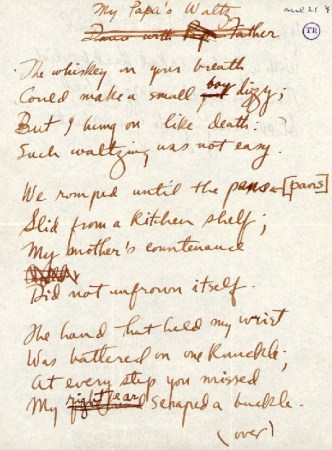 "Draft manuscript of Roethke's ""My Papa's Waltz,"" showing that ""small boy"" was originally ""small girl."""