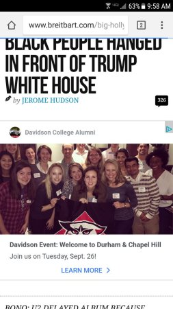 A September 2017 ad for the Davidson College Alumni Association on Breitbart.com