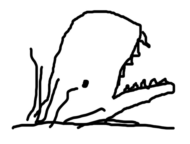 A rough drawing of a whale