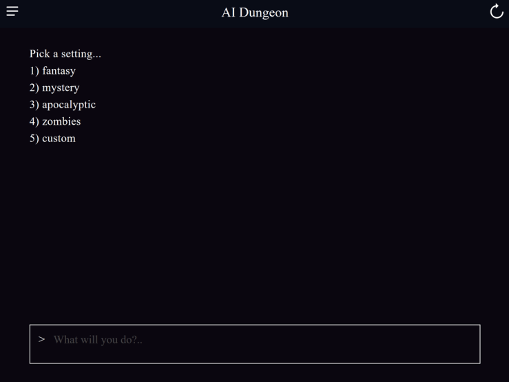 Selecting the genre for AI Dungeon