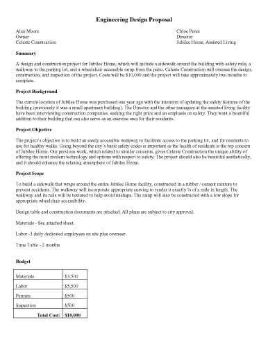 Printable Sample – Engineering Design Proposal