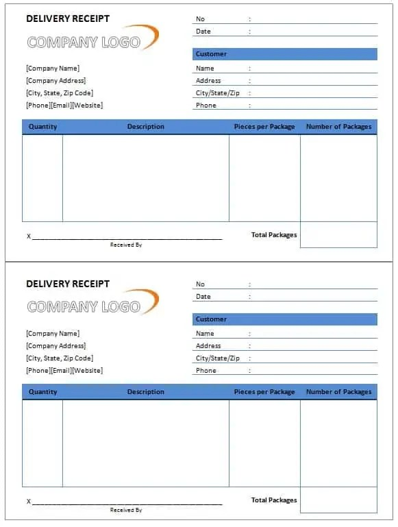 Delivery Receipt Template Free Formats Excel Word