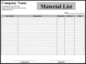 material list template free formats excel word